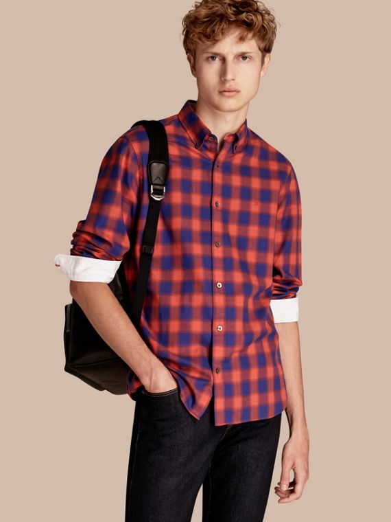 Gingham Check Cotton Shirt Orange Red