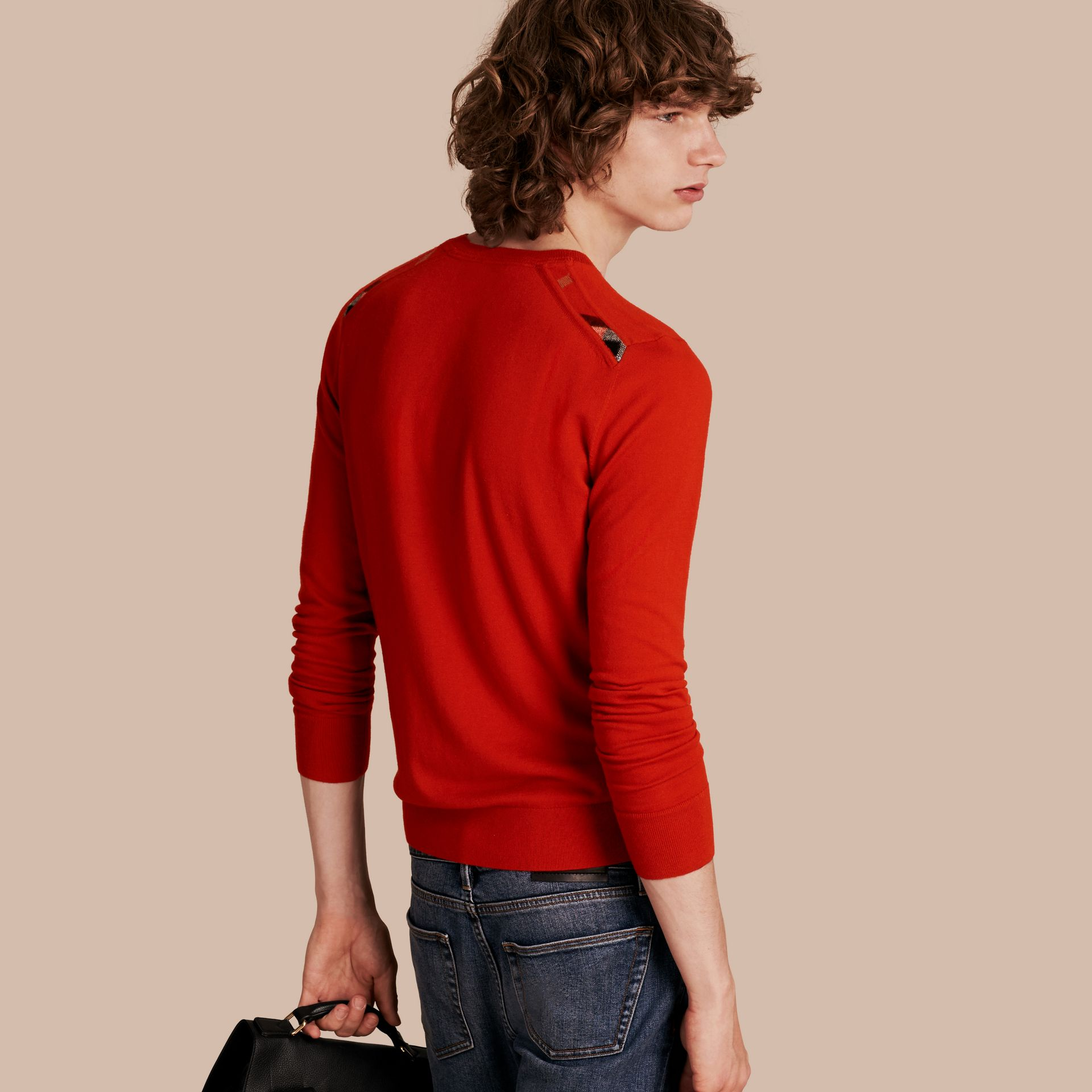 Lightweight Crew Neck Cashmere Sweater with Check Trim in Parade Red - Men | Burberry Australia - gallery image 1