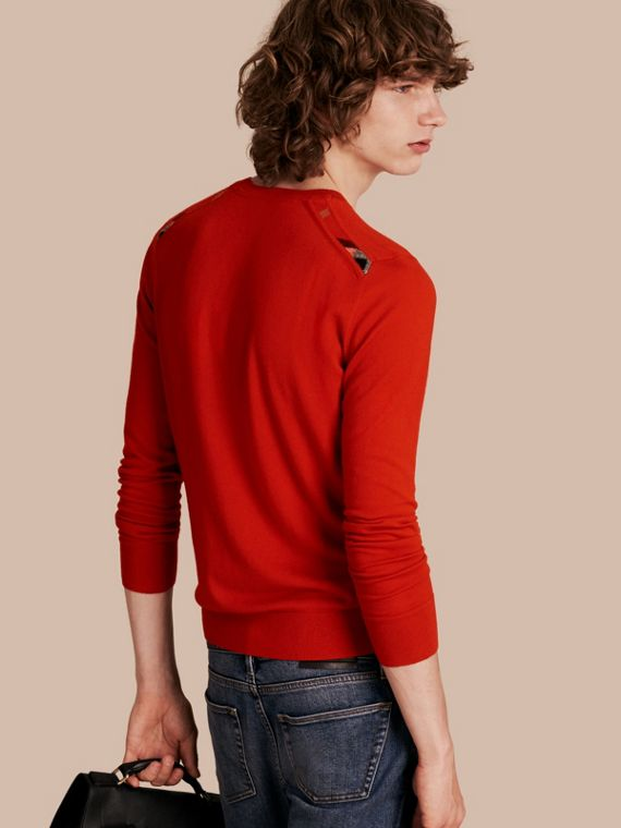 Lightweight Crew Neck Cashmere Sweater with Check Trim Parade Red