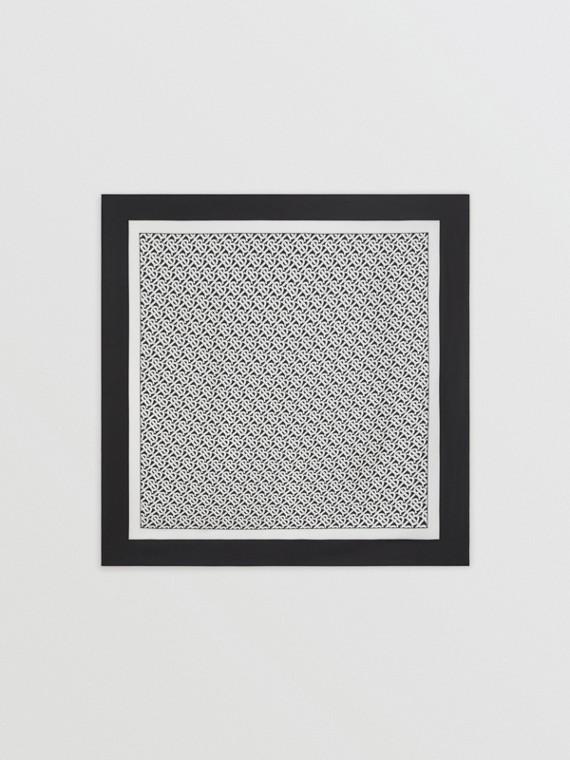 Lenço de seda com estampa de monograma (Monocromático)