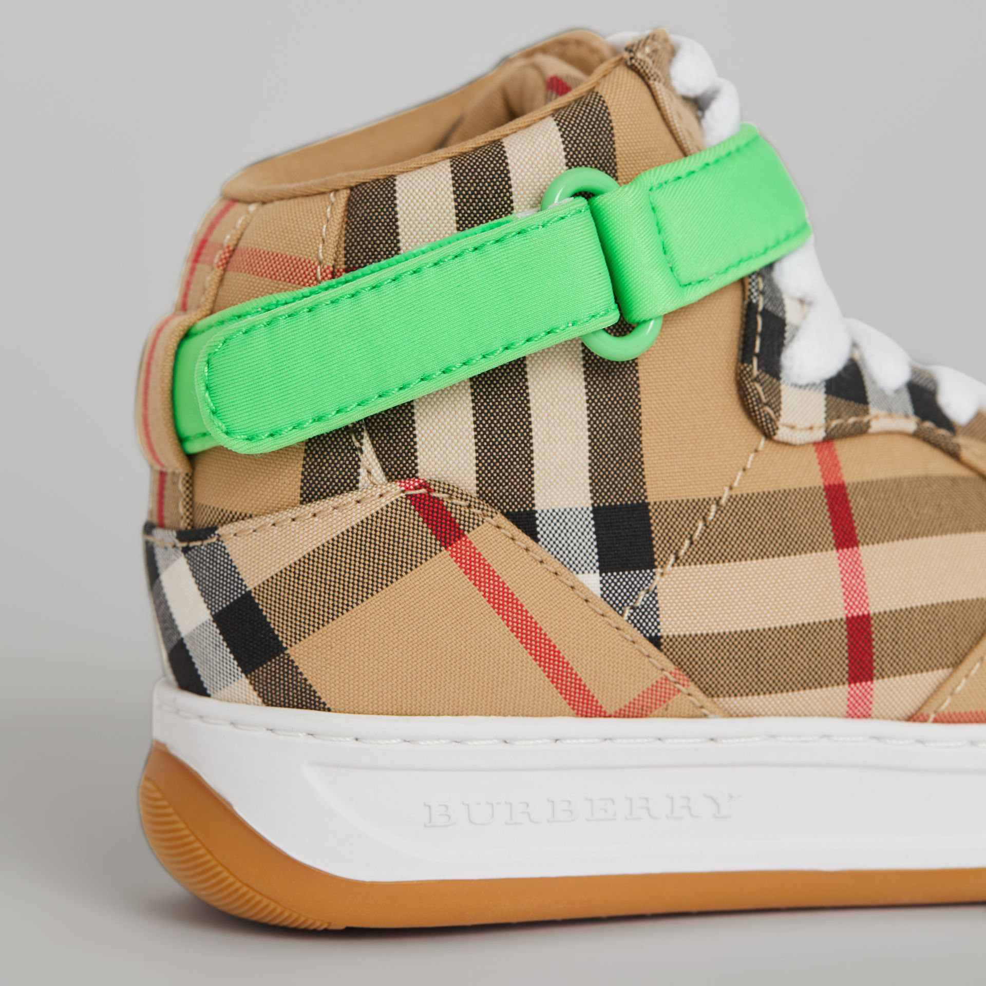 Vintage Check High-top Sneakers in Antique Yellow/neon Green | Burberry Singapore - gallery image 1