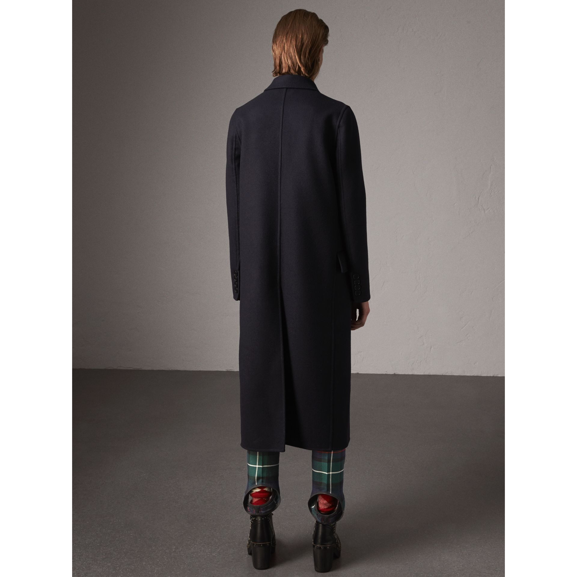 Felted Wool Double-breasted Coat in Navy - Women | Burberry United States - gallery image 2
