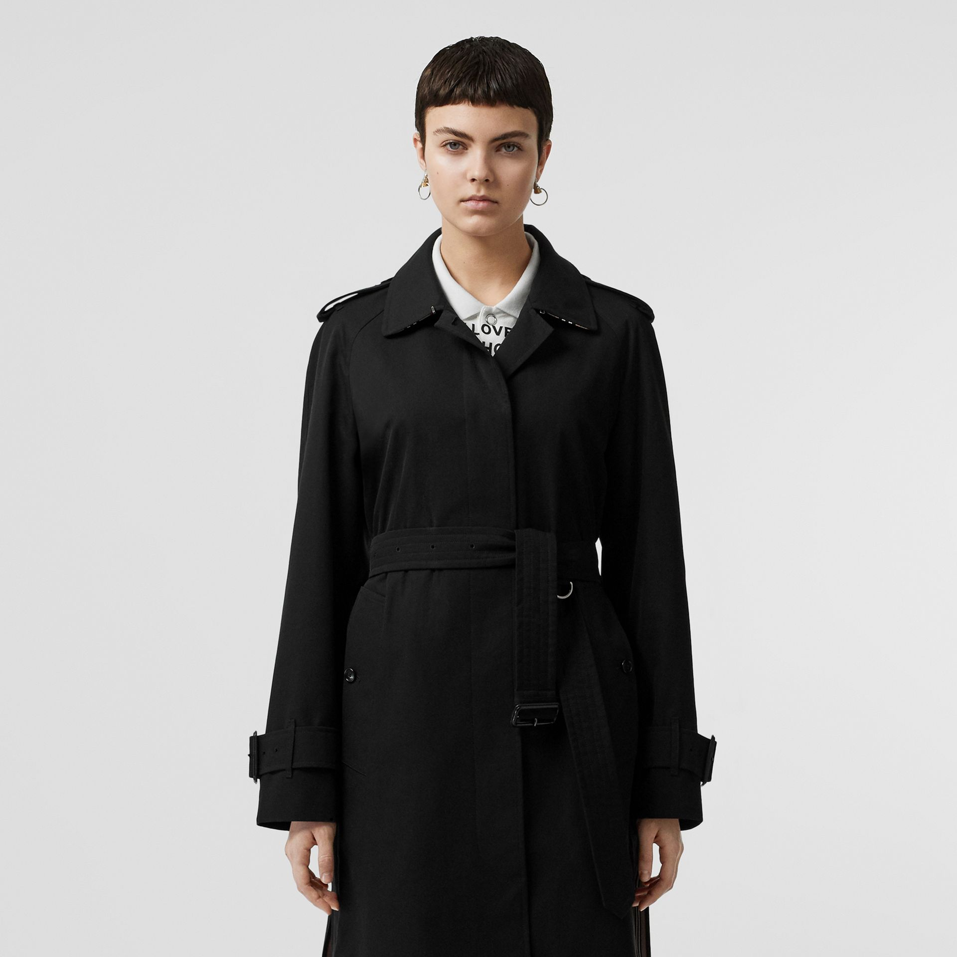 Tropical Gabardine Belted Car Coat in Black - Women | Burberry United States - gallery image 8
