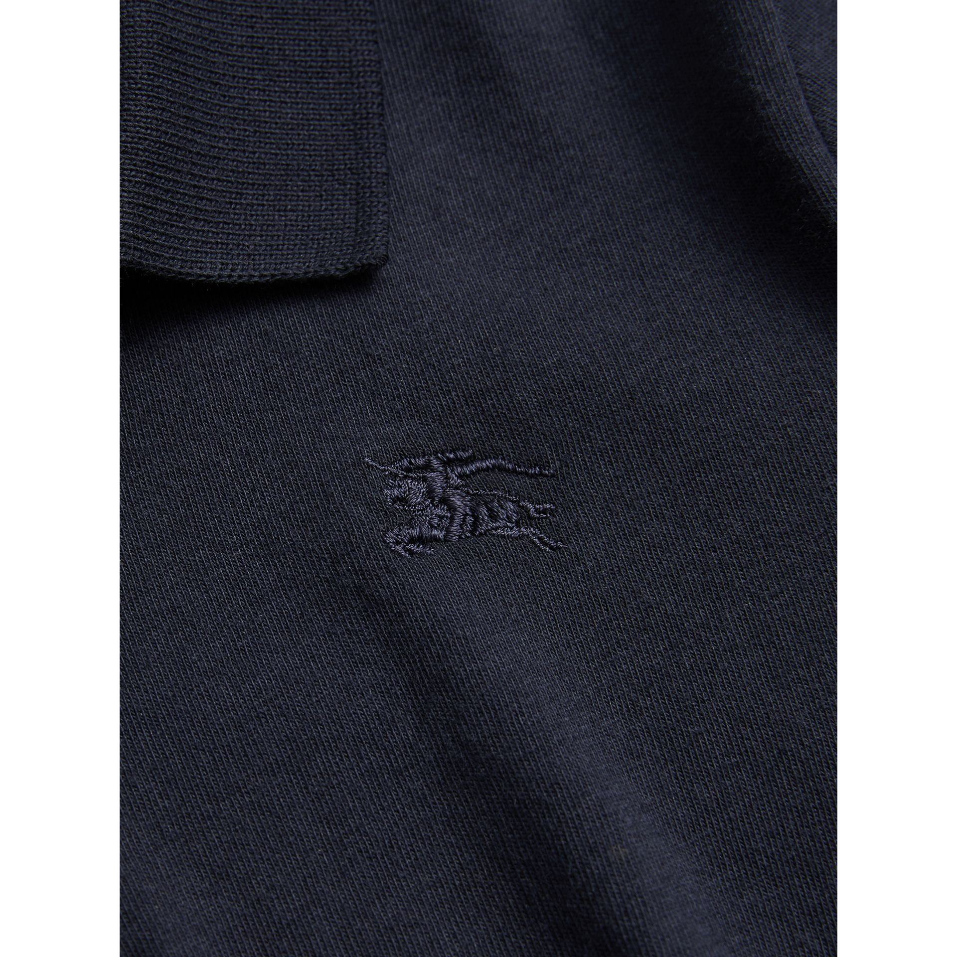 Long-sleeve Cotton Jersey Polo Shirt in True Navy - Boy | Burberry - gallery image 1