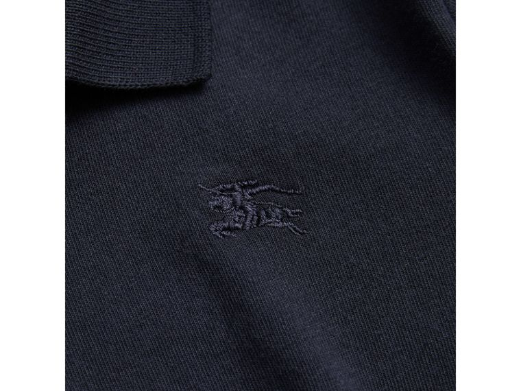Long-sleeve Cotton Jersey Polo Shirt in True Navy - Boy | Burberry - cell image 1