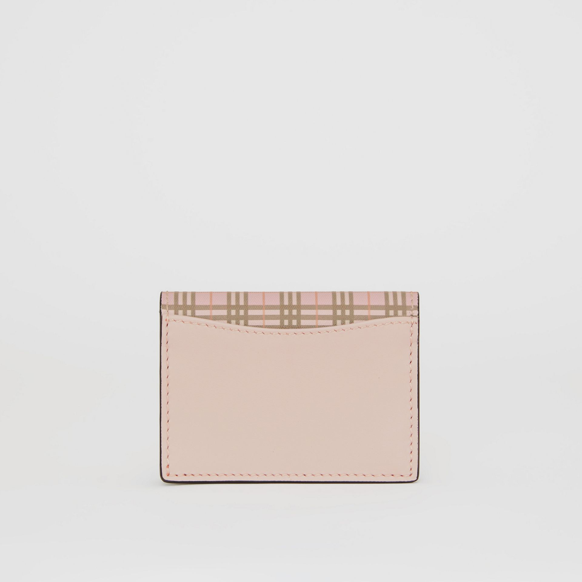 Small Scale Check and Leather Folding Card Case in Ice Pink - Women | Burberry - gallery image 2