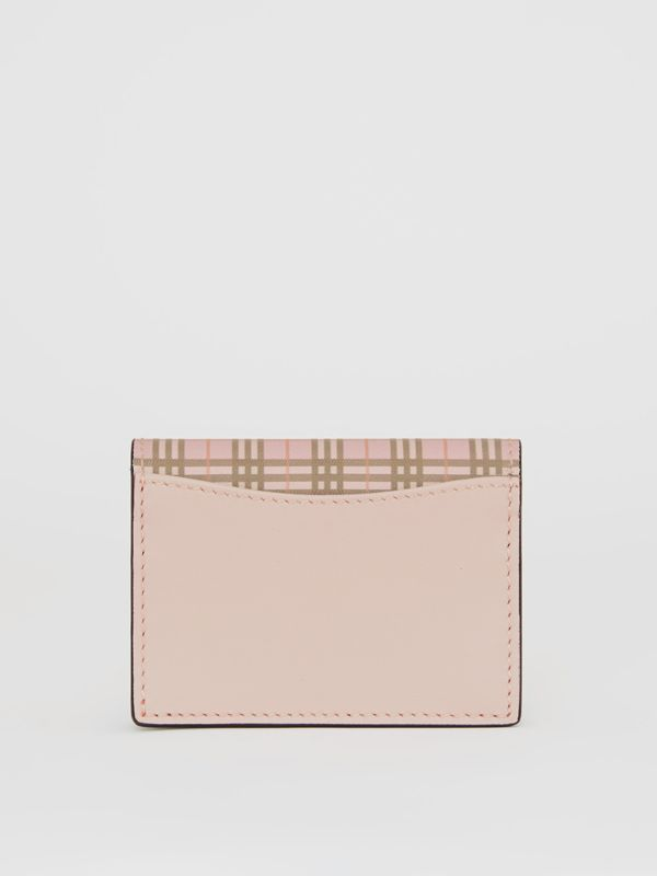 Small Scale Check and Leather Folding Card Case in Ice Pink - Women | Burberry United Kingdom - cell image 2