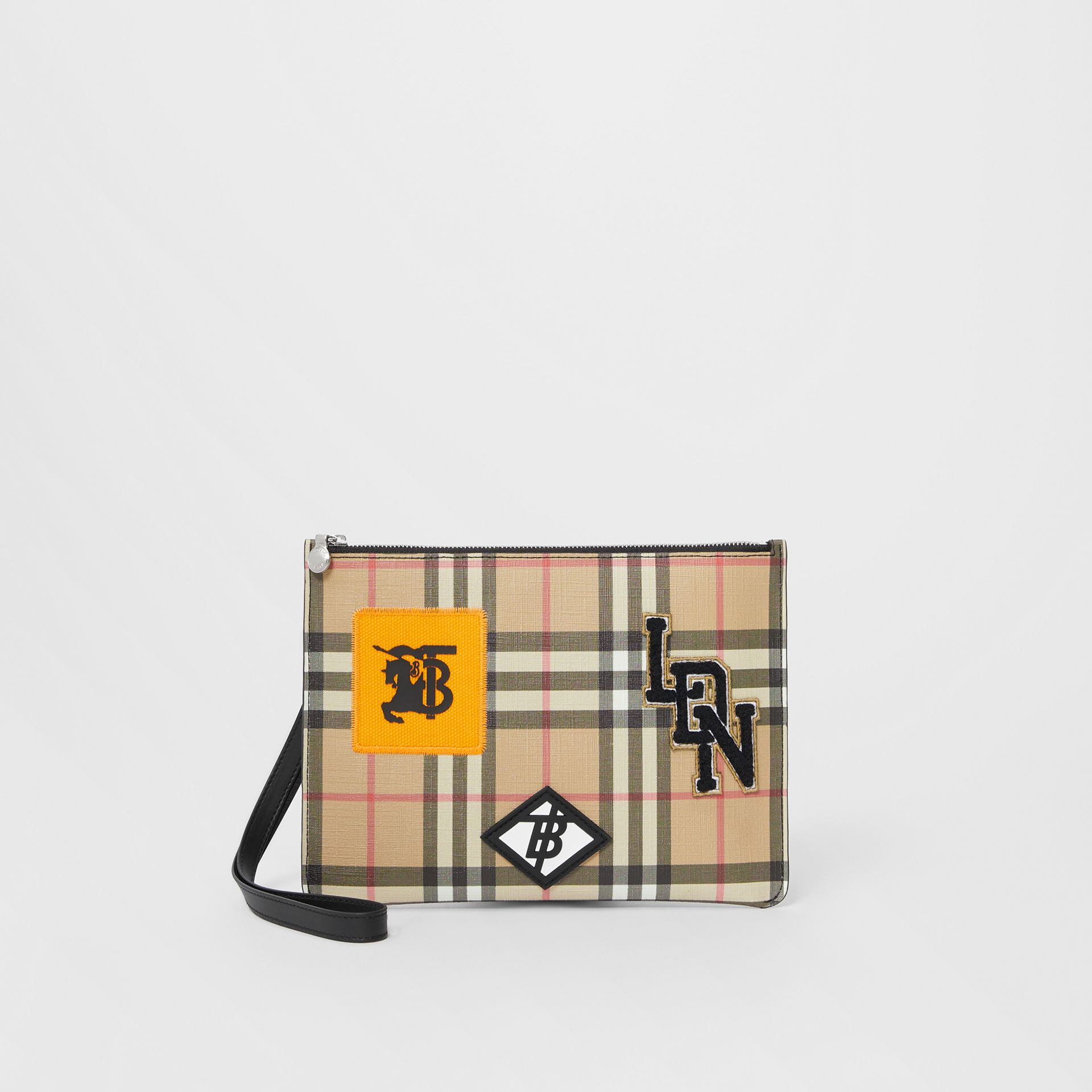 Logo Graphic Vintage Check E-canvas Zip Pouch in Archive Beige | Burberry - gallery image 4