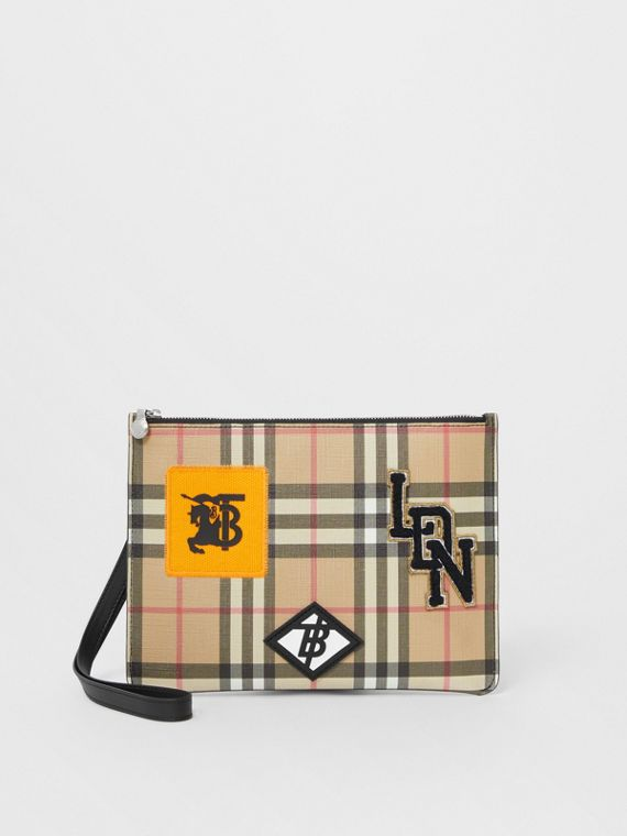 Logo Graphic Vintage Check E-canvas Zip Pouch in Archive Beige