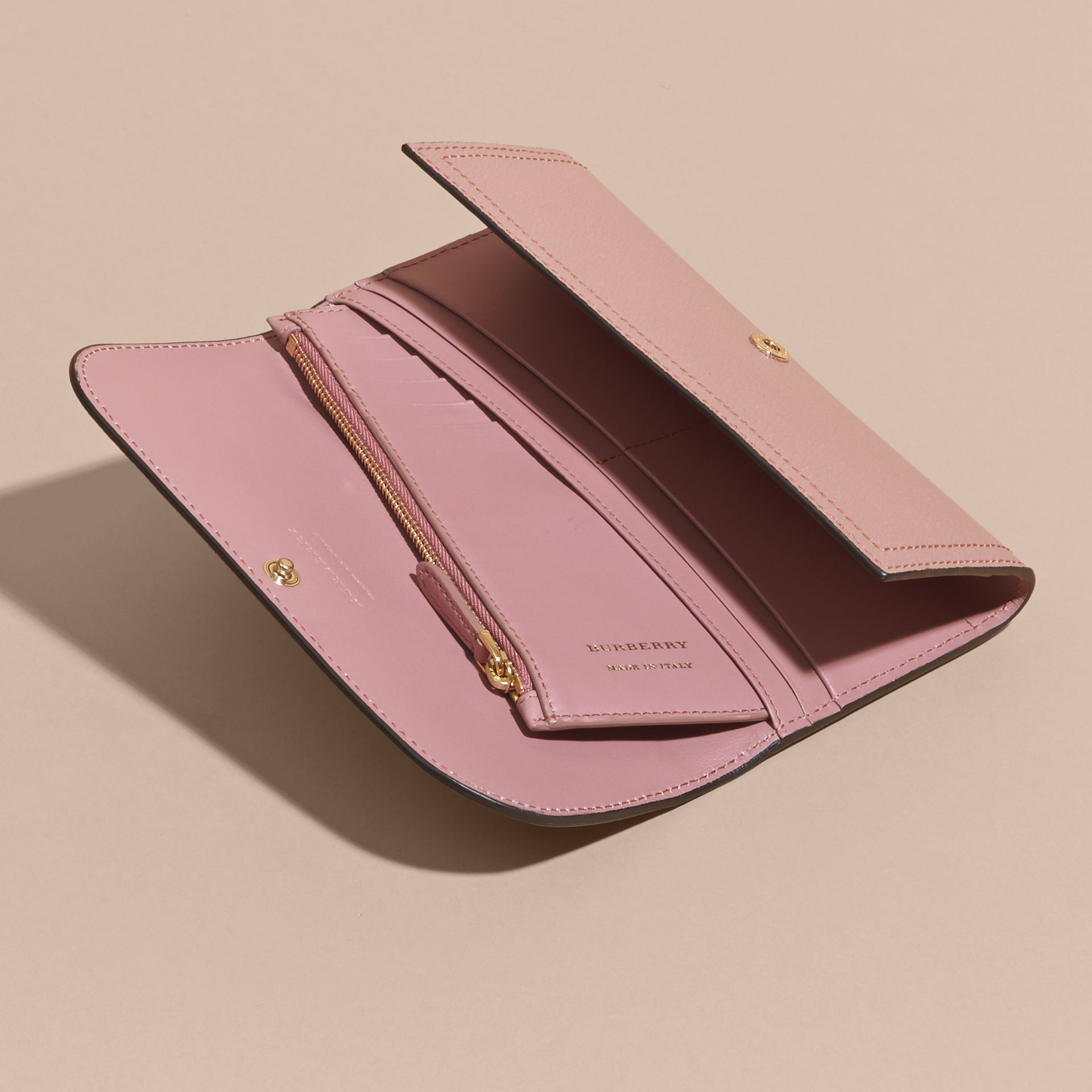 Leather Continental Wallet with Removable Coin Case Dusty Pink - gallery image 5
