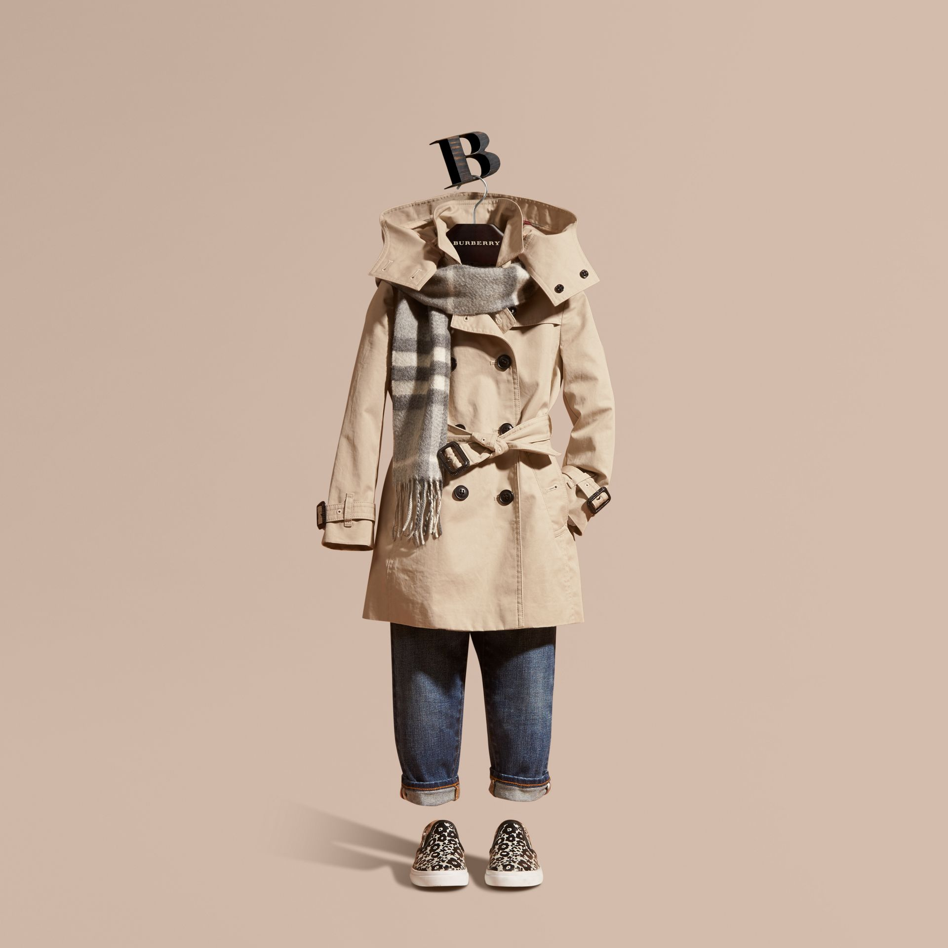 Hooded Cotton Trench Coat in Stone - Girl | Burberry Singapore - gallery image 1