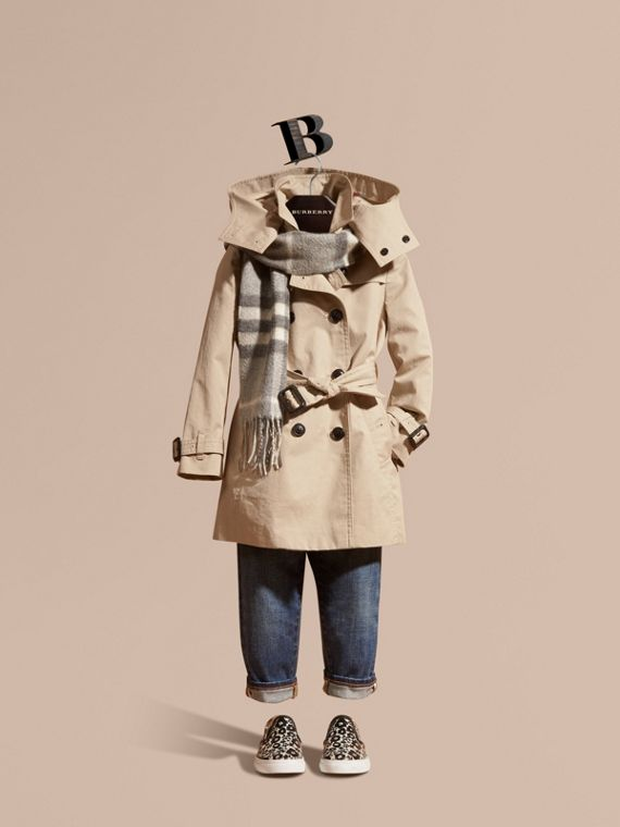 Hooded Cotton Trench Coat in Stone