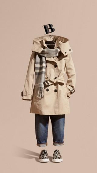 Trench-coat en coton à capuche