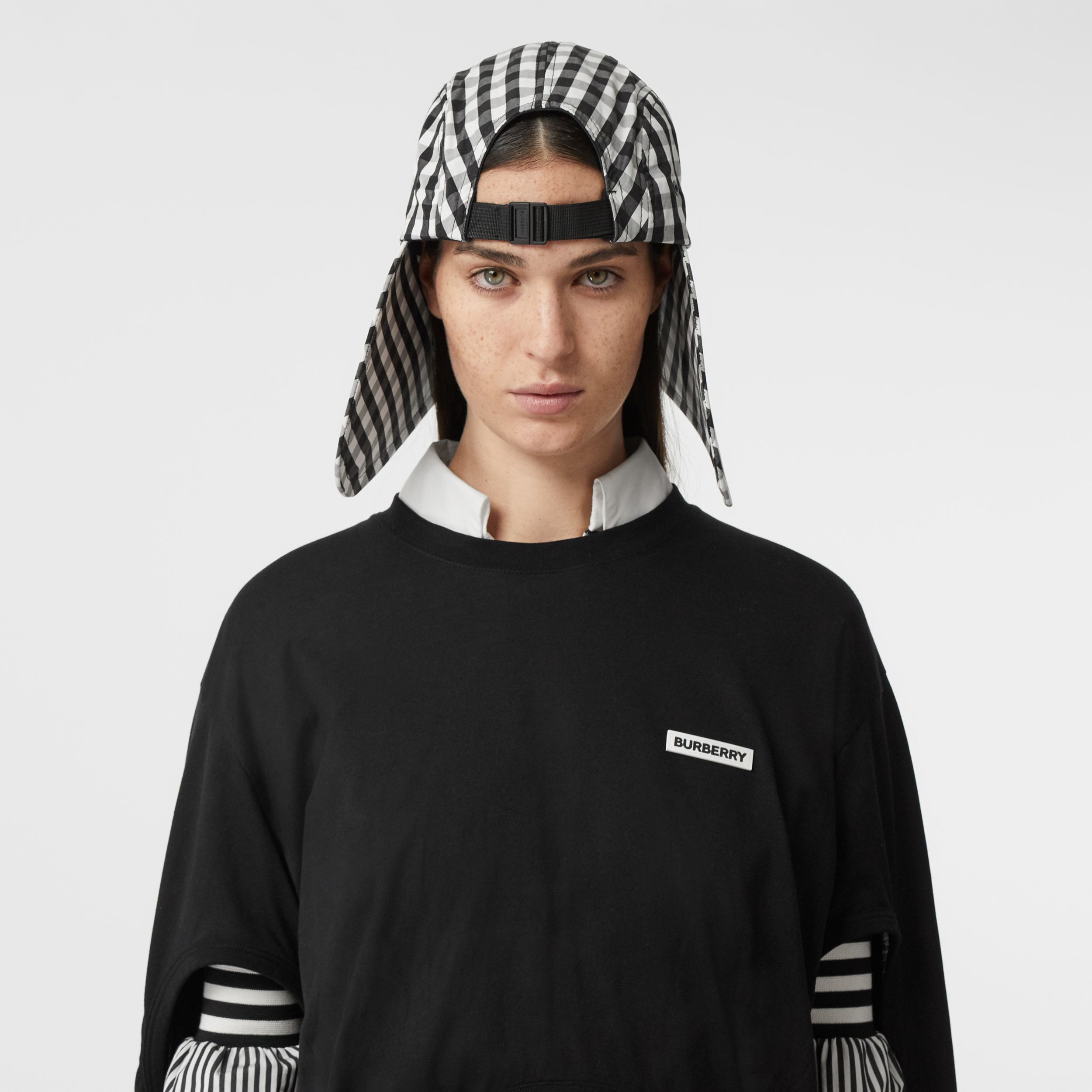 Logo Appliqué Gingham Cotton Bonnet Cap in Black/white | Burberry Australia - 3