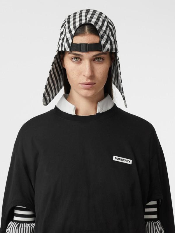 Logo Appliqué Gingham Cotton Bonnet Cap in Black/white | Burberry - cell image 2