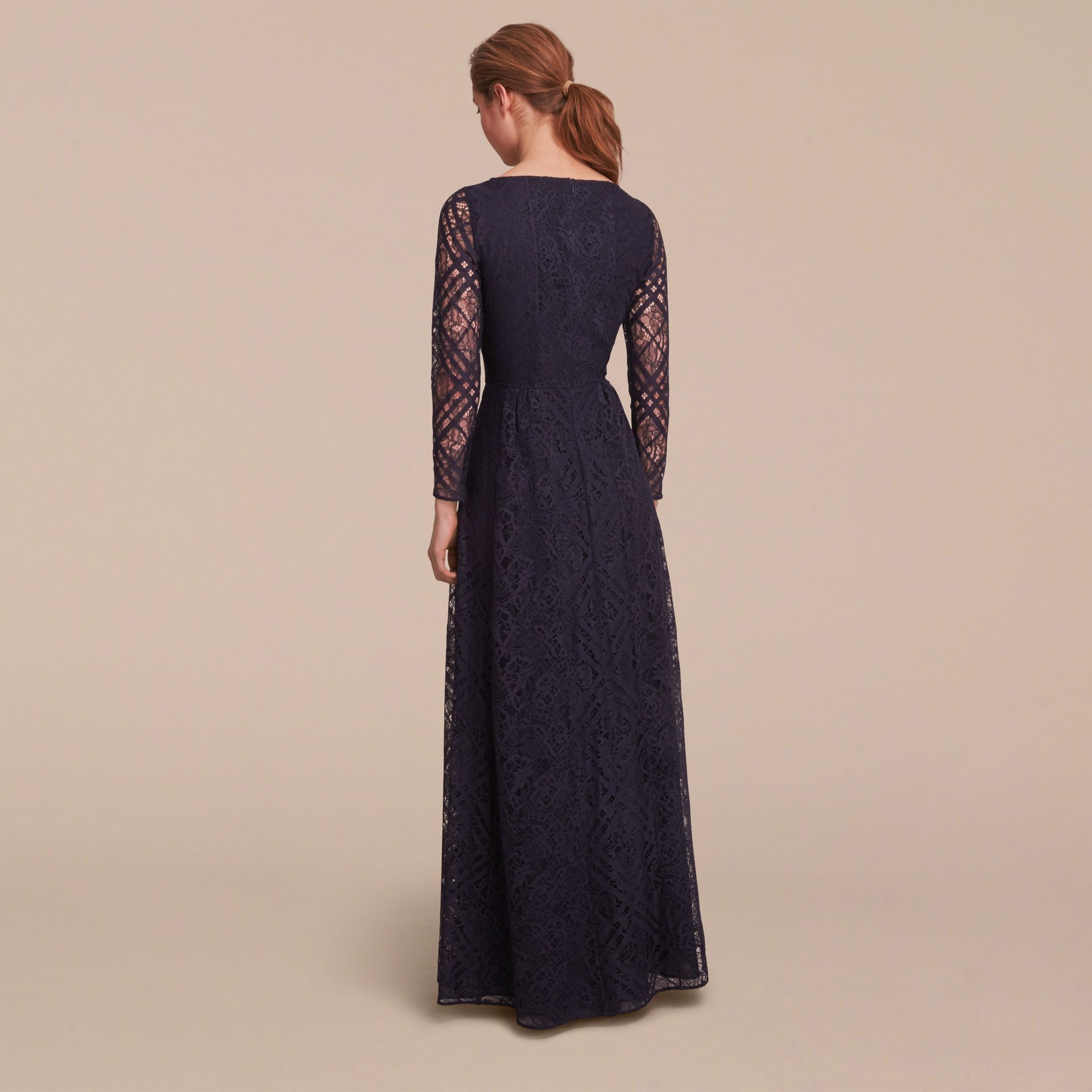 Check Lace Floor-length Dress - gallery image 3