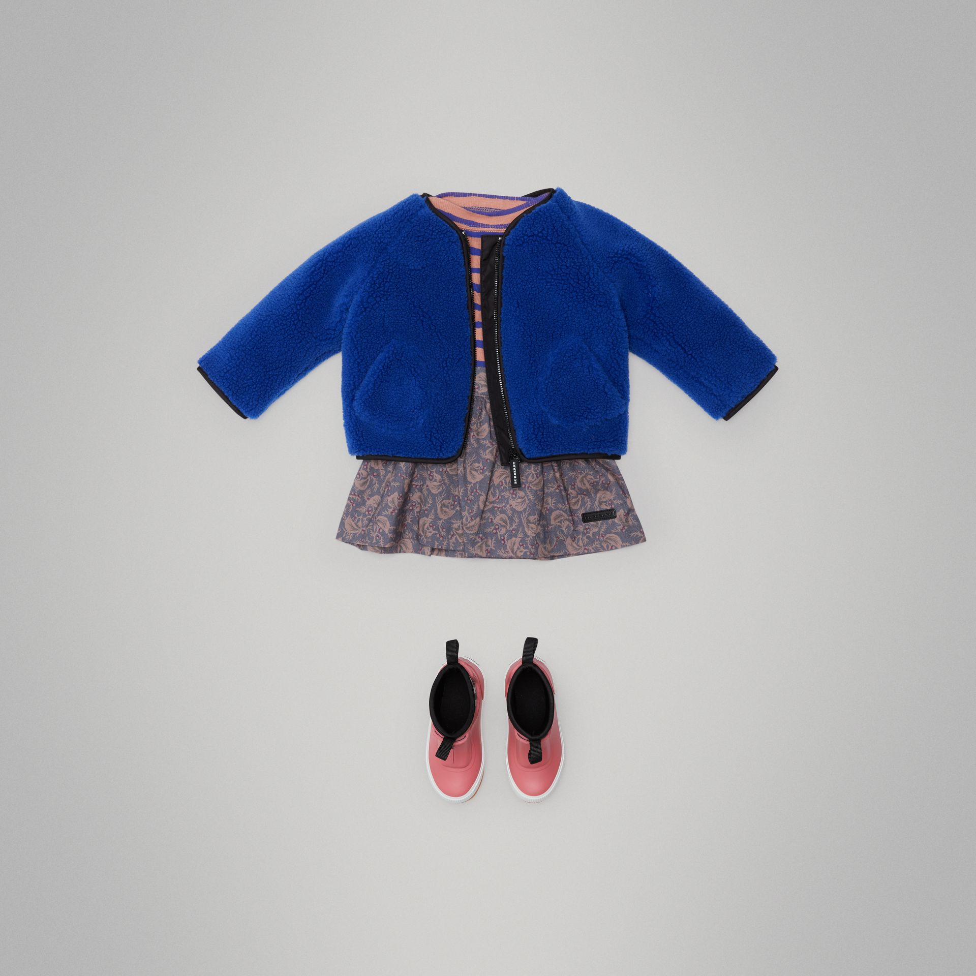 Faux Shearling Jacket in Cobalt Blue - Children | Burberry - gallery image 2