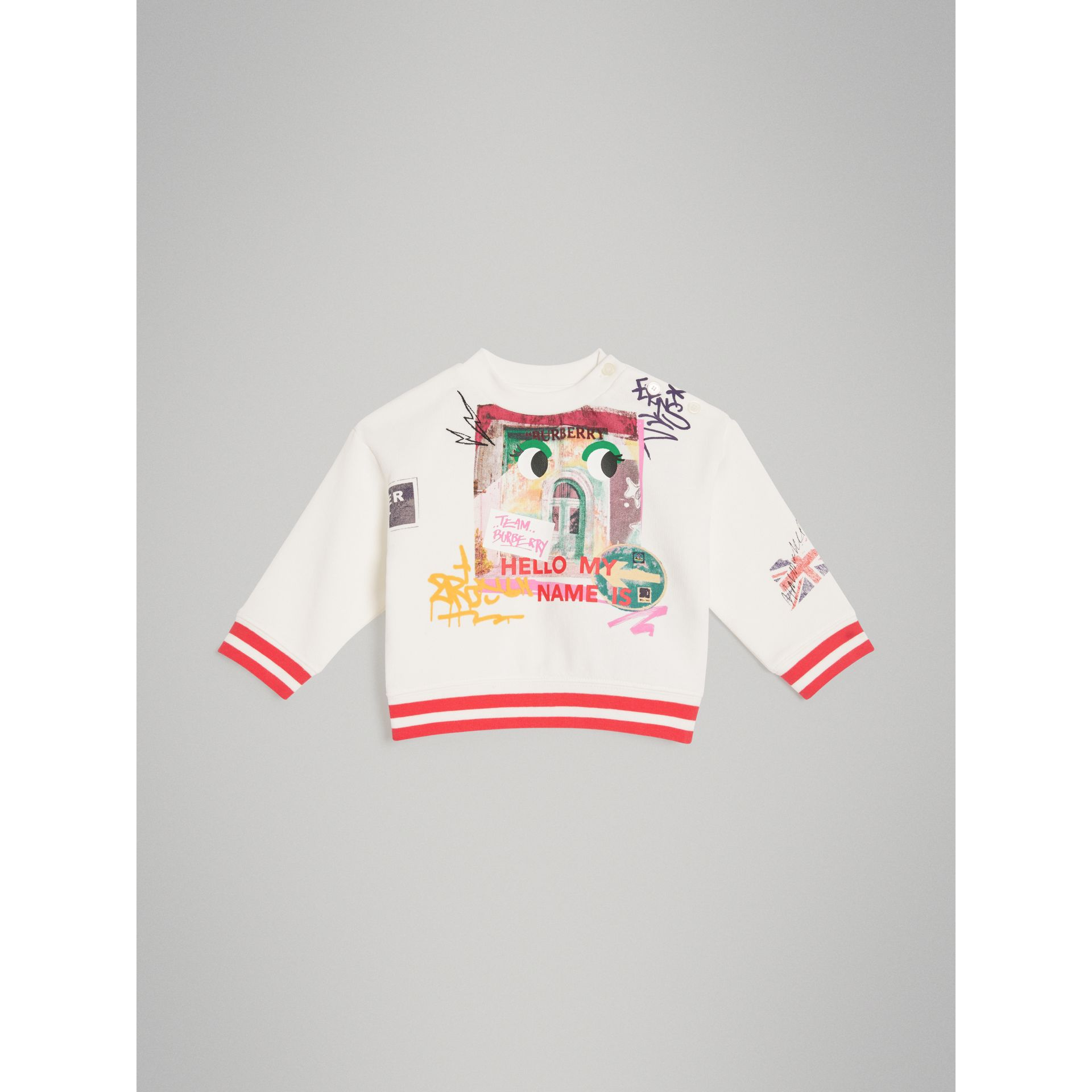 London Polaroid Print Cotton Sweatshirt in Ivory | Burberry - gallery image 0