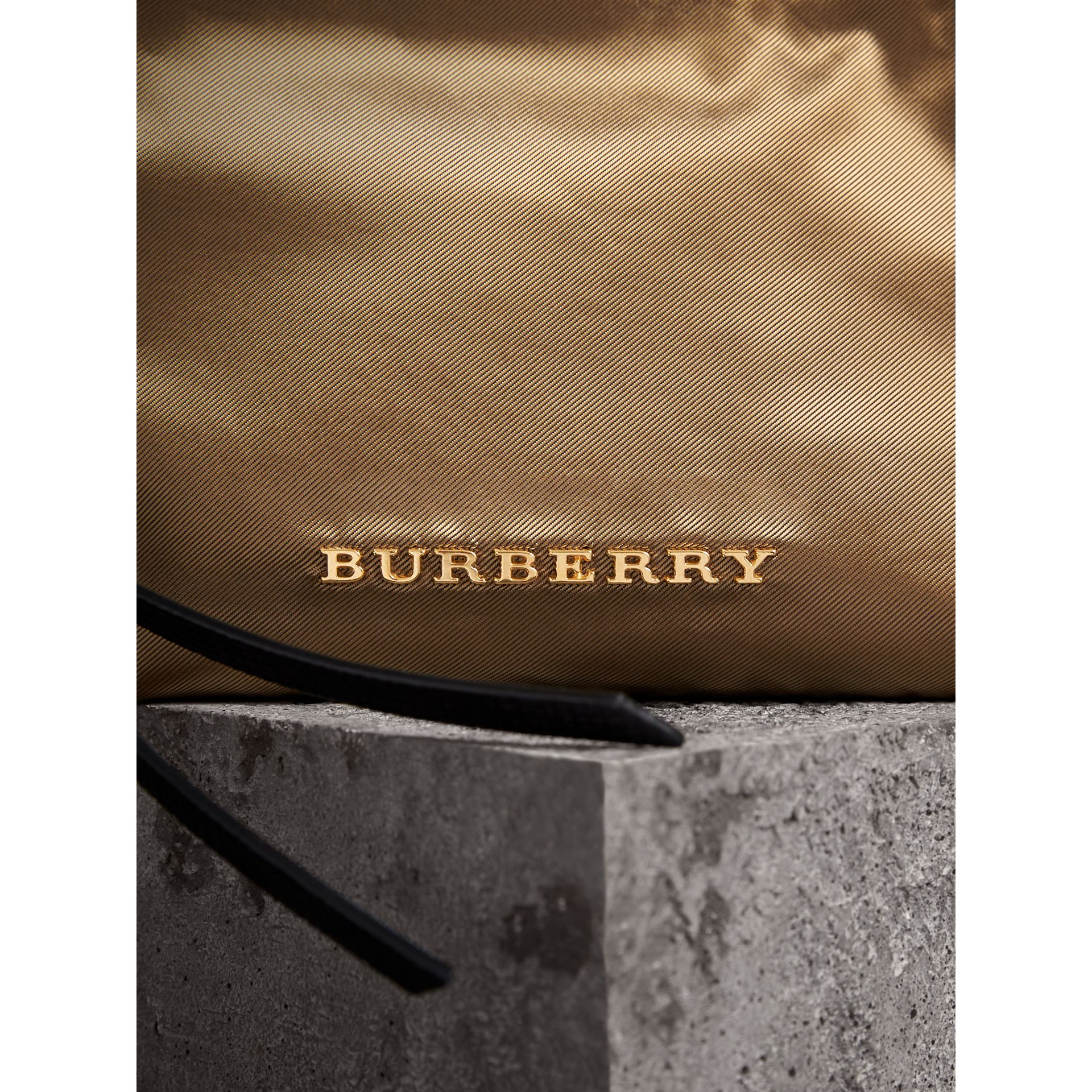 Small Zip-top Leather-trimmed Technical Nylon Pouch in Gold/black - Women | Burberry - gallery image 2