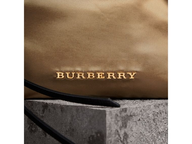 Small Zip-top Leather-trimmed Technical Nylon Pouch in Gold/black - Women | Burberry - cell image 1