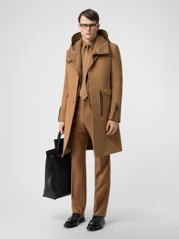 Detachable Panel Detail Hooded Jacket in Warm Walnut - Men | Burberry United Kingdom - cell image 2