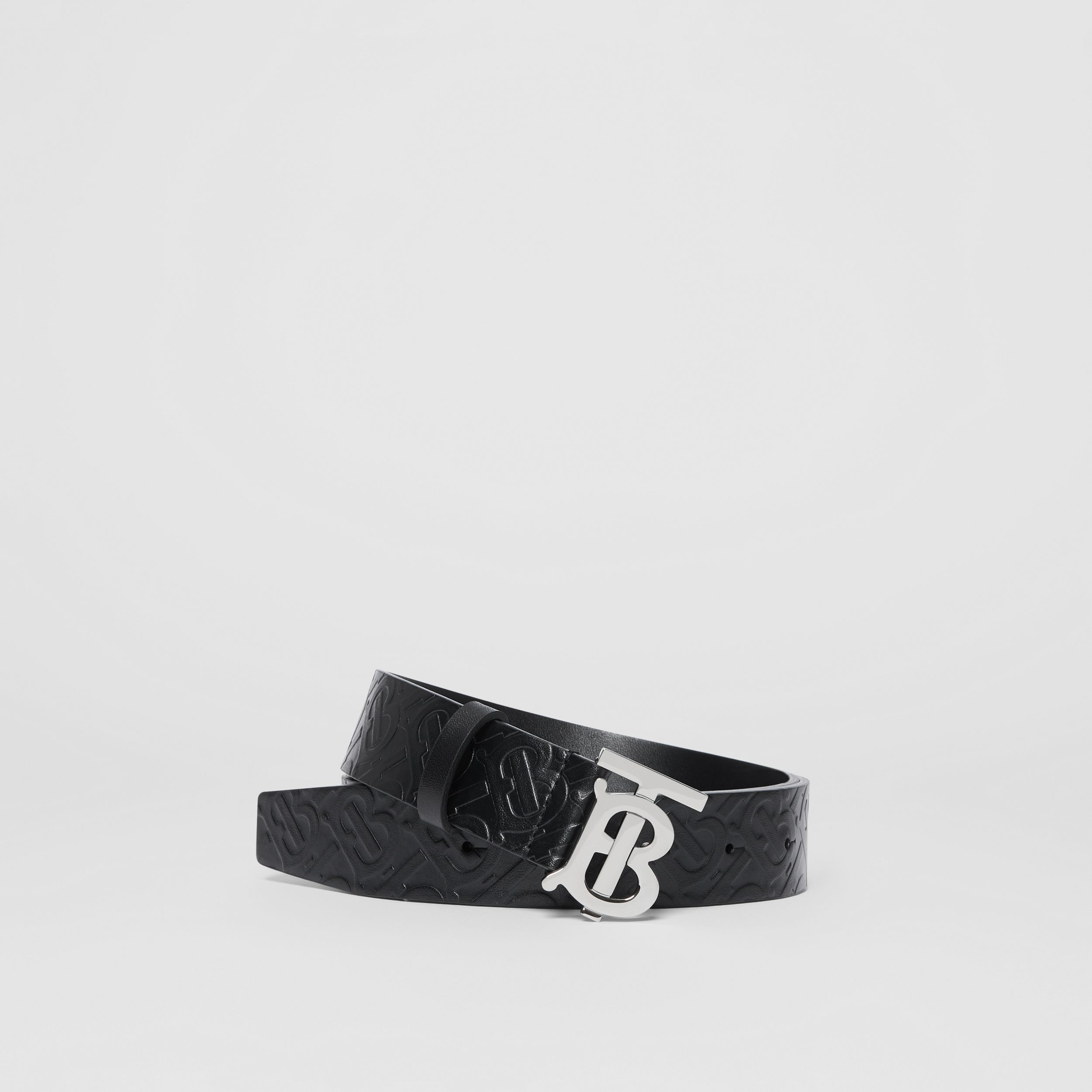 Monogram Motif Monogram Leather Belt in Black/palladium - Men | Burberry - 1