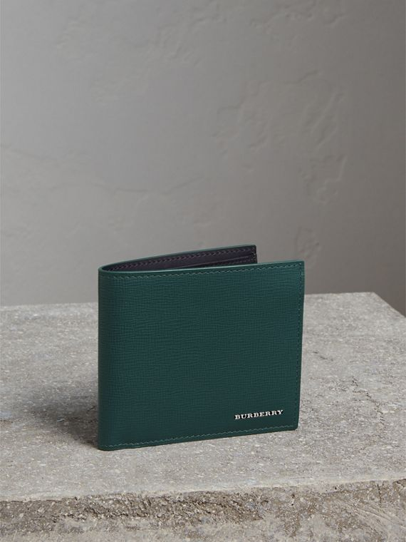 London Leather International Bifold Wallet in Dark Teal | Burberry Singapore