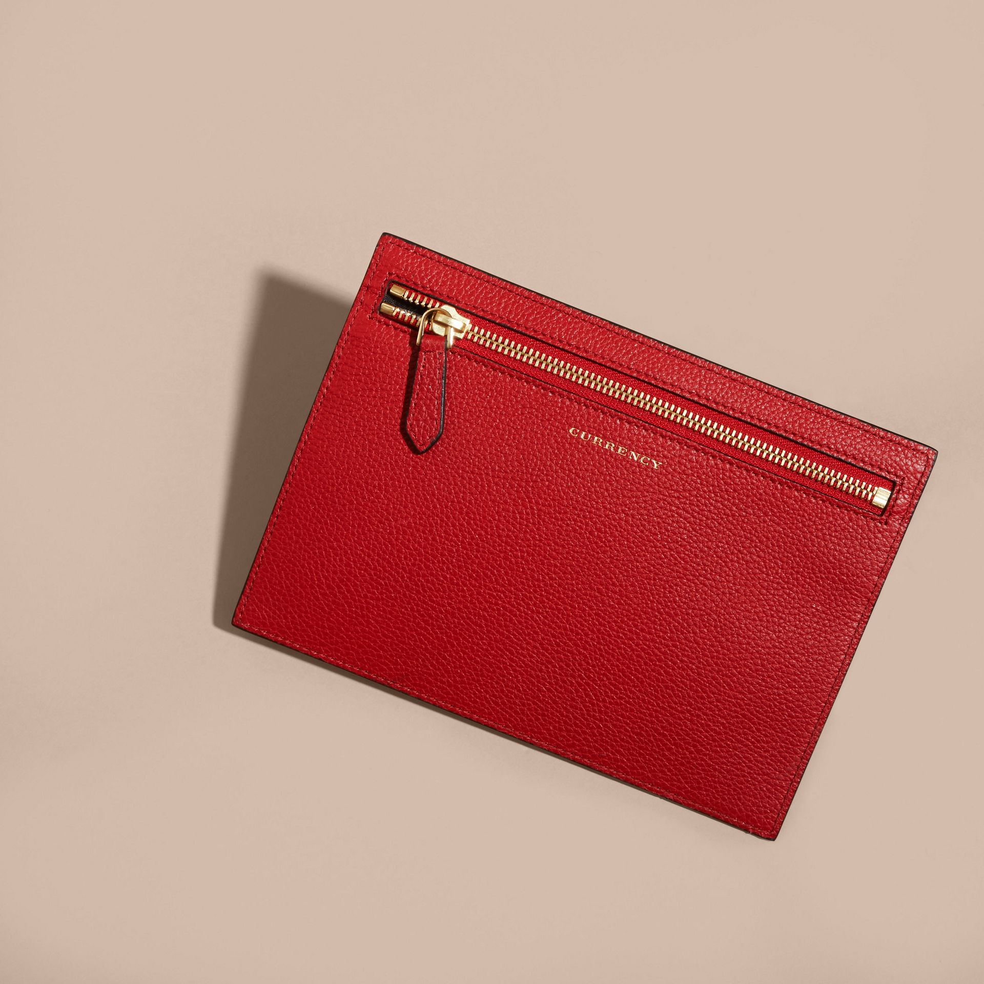 Grainy Leather Currency Wallet in Parade Red | Burberry - gallery image 4