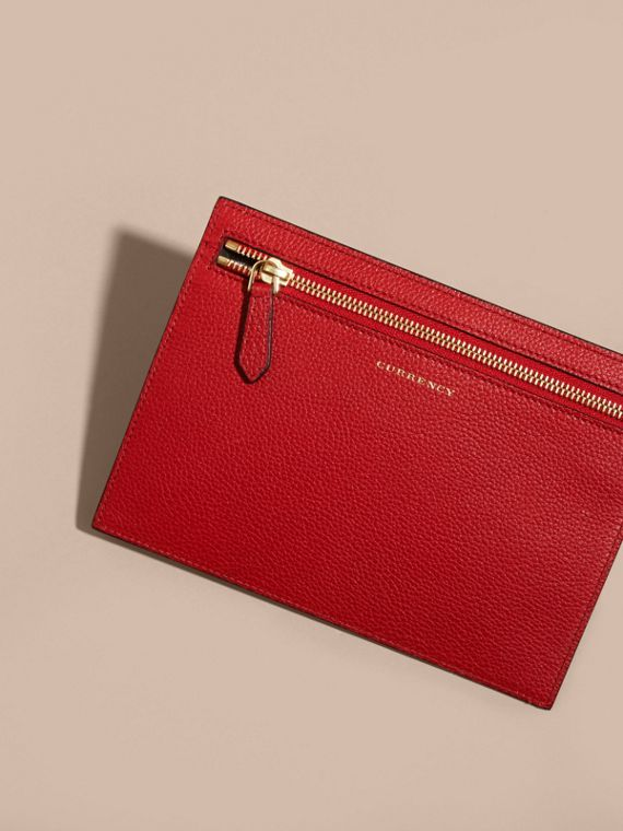 Grainy Leather Currency Wallet in Parade Red | Burberry - cell image 3