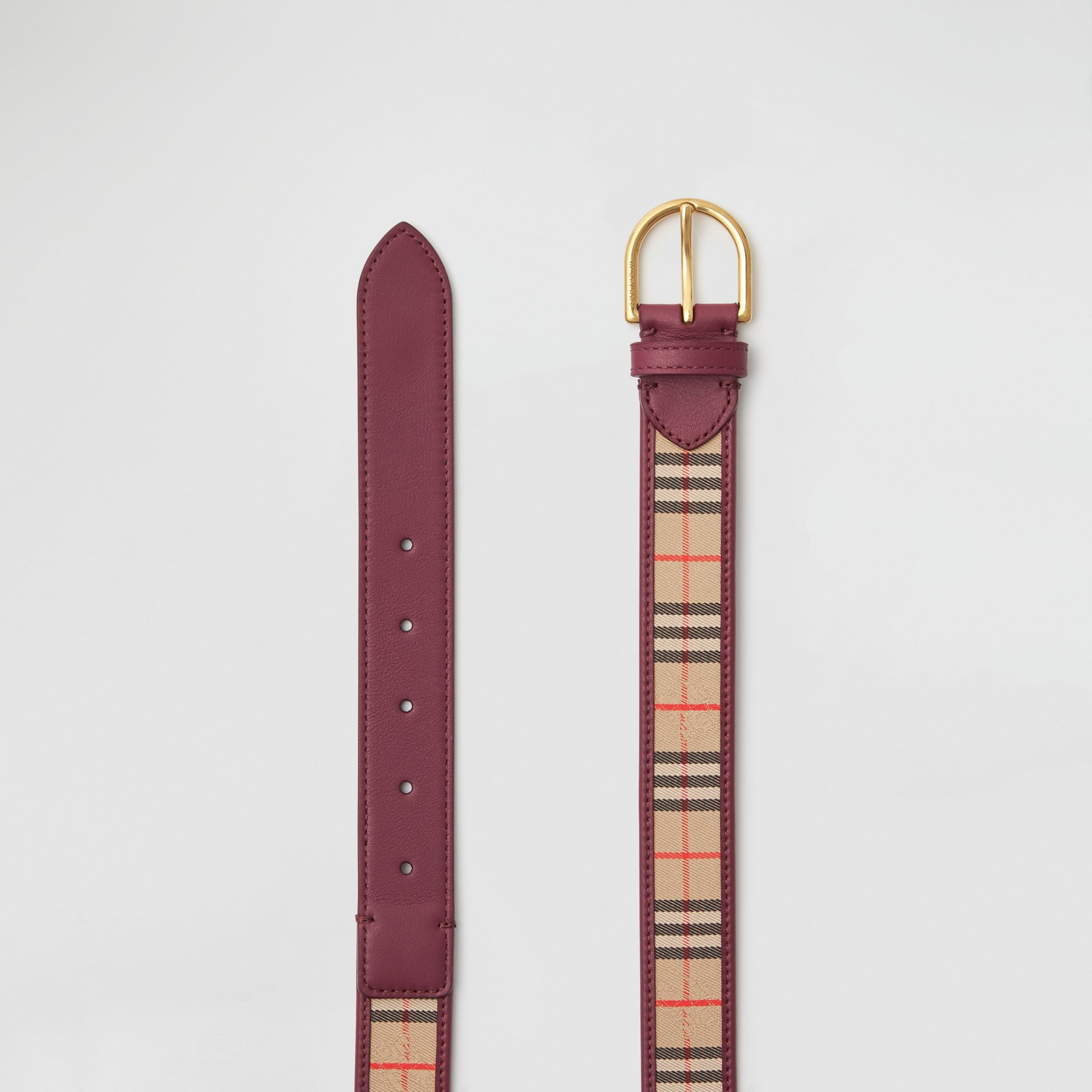 D-ring Buckle 1983 Check and Leather Belt in Antique Red - Men | Burberry Australia - gallery image 5