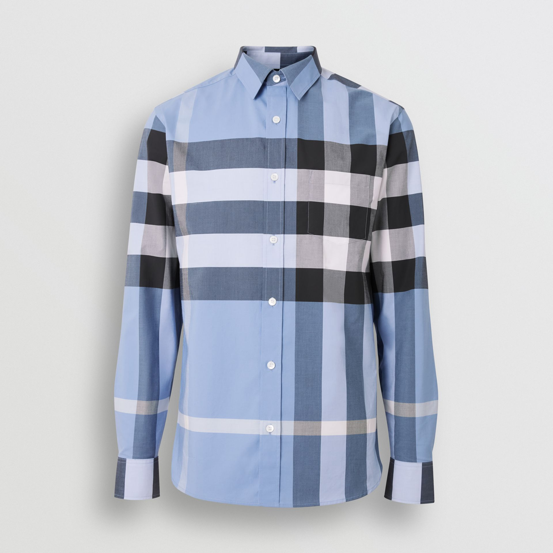 Check Stretch Cotton Shirt in Cornflower Blue - Men | Burberry Singapore - gallery image 3