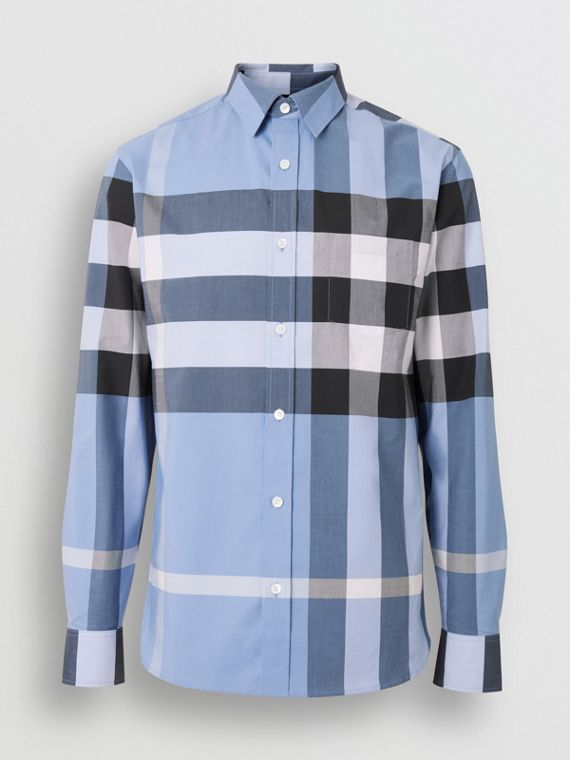 Check Stretch Cotton Shirt in Cornflower Blue