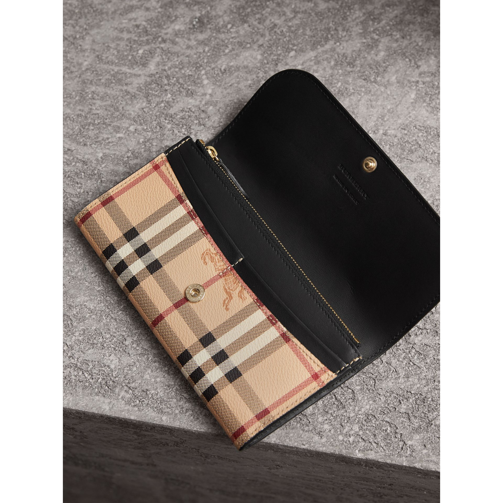 Haymarket Check and Leather Slim Continental Wallet in Black - Women | Burberry United Kingdom - gallery image 3