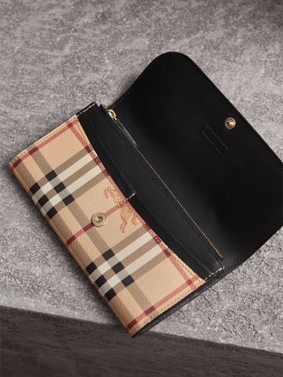 Haymarket Check and Leather Slim Continental Wallet in Black - Women | Burberry Australia - cell image 3