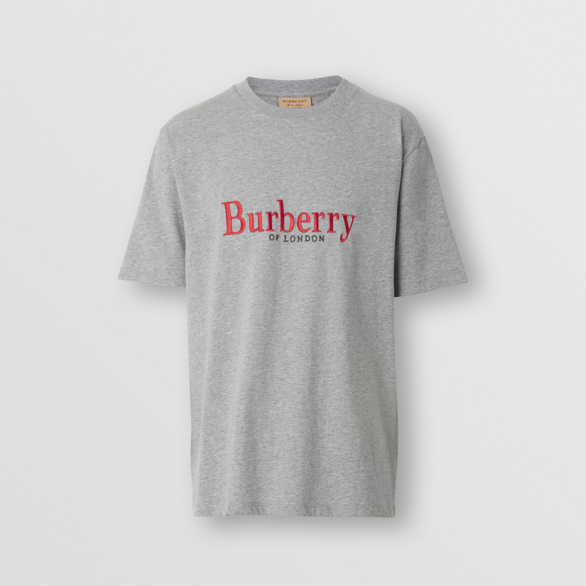 Embroidered Archive Logo Cotton T-shirt in Pale Grey Melange - Men | Burberry - gallery image 3
