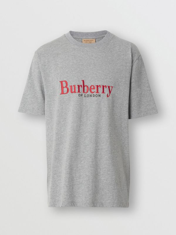 Embroidered Archive Logo Cotton T-shirt in Pale Grey Melange - Men | Burberry Canada - cell image 3