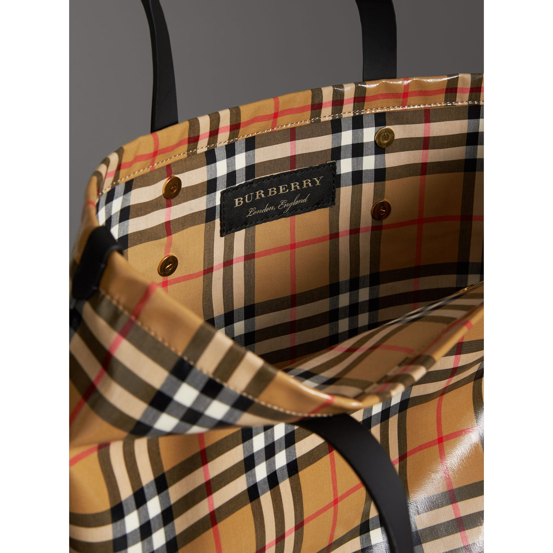 Large Coated Vintage Check Shopper in Black | Burberry - gallery image 5