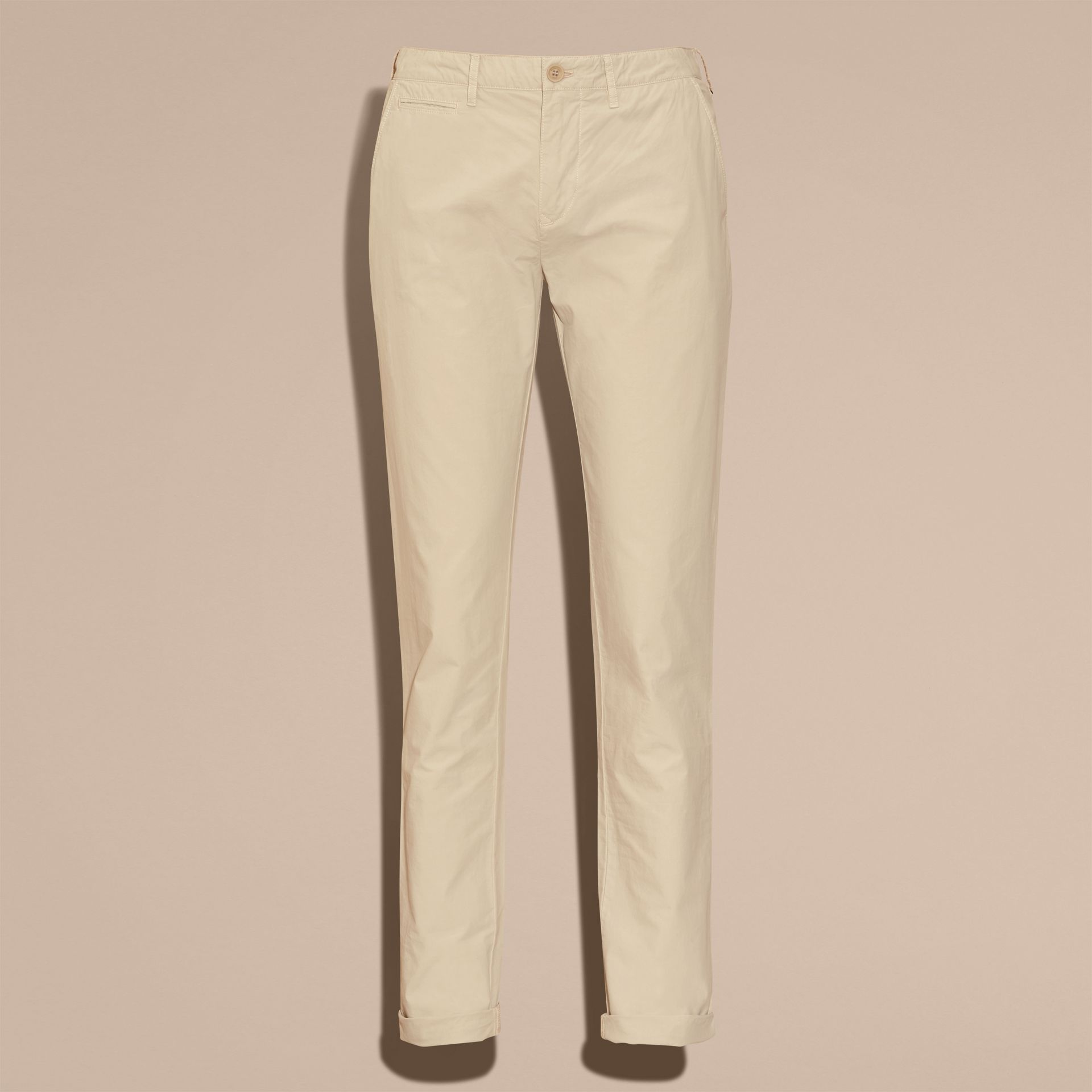 Slim Fit Cotton Poplin Chinos in Stone - Men | Burberry - gallery image 4