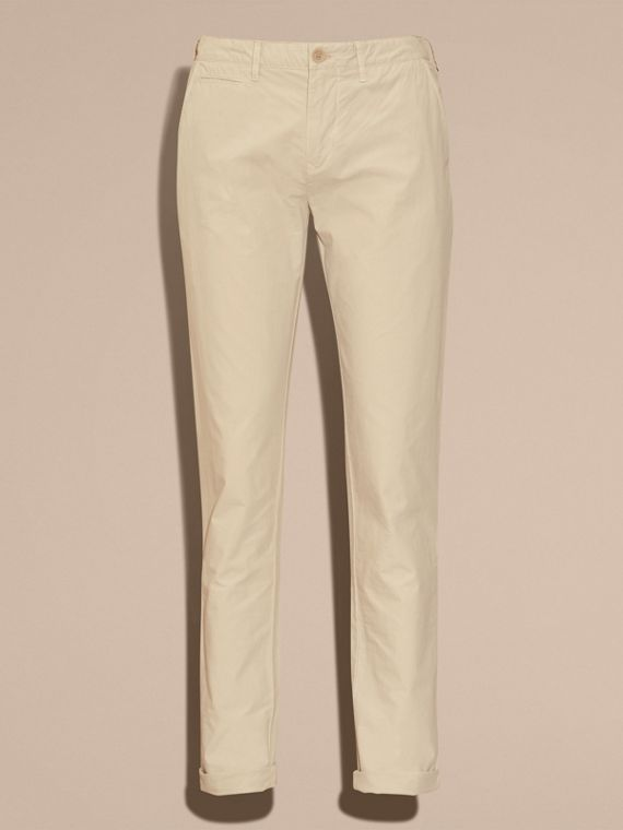 Slim Fit Cotton Poplin Chinos in Stone - Men | Burberry Singapore - cell image 3