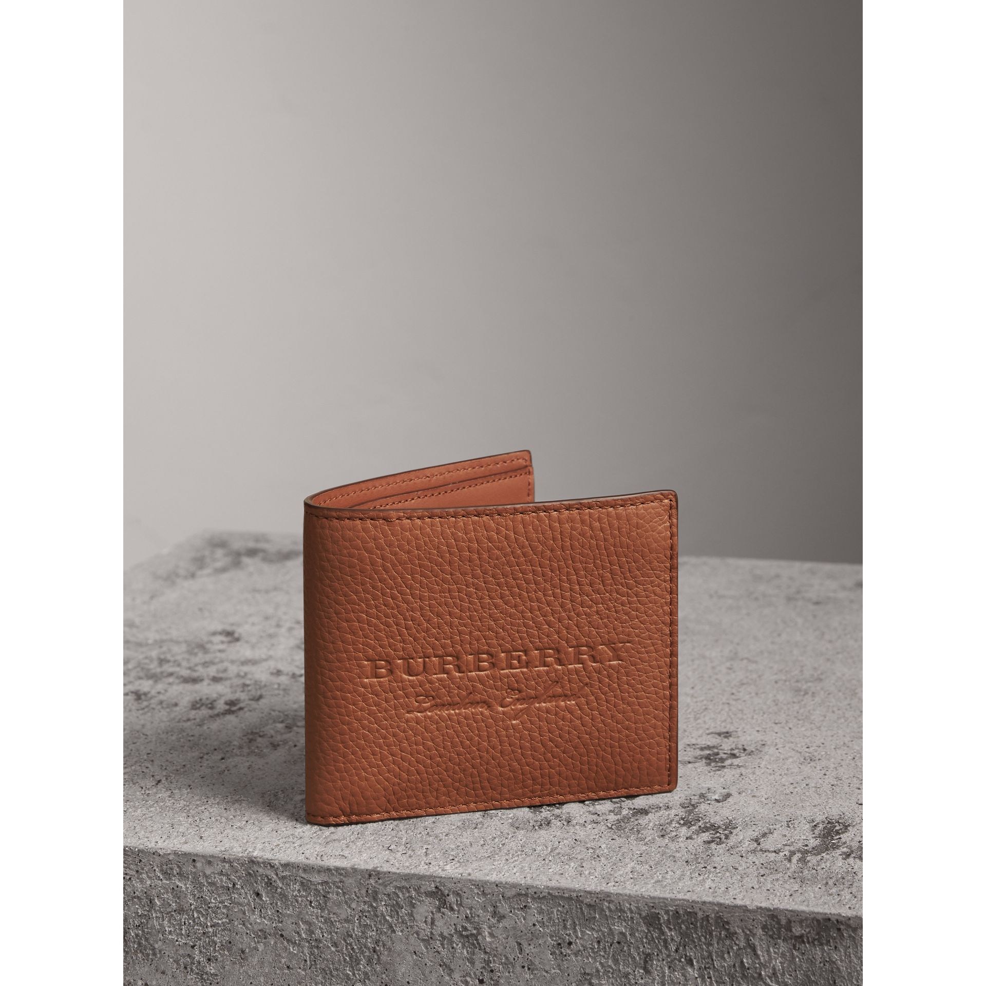 Embossed Leather Bifold Wallet in Chestnut Brown - Men | Burberry United Kingdom - gallery image 0