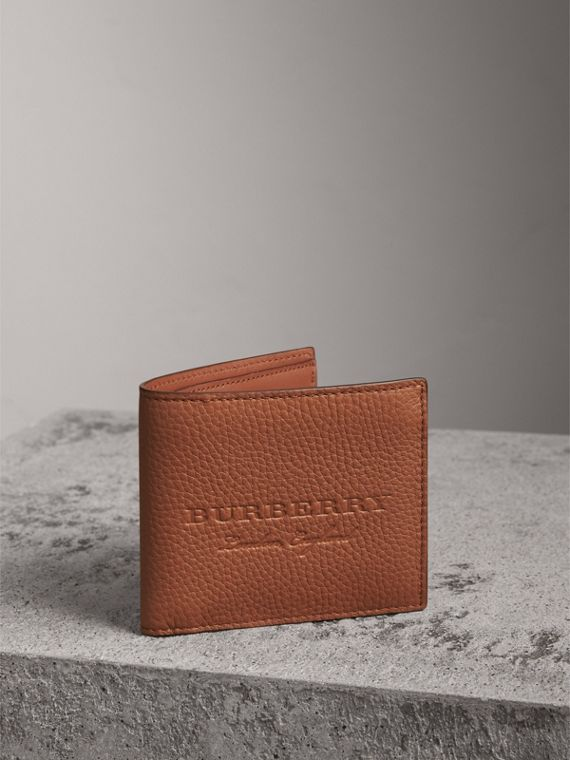 Embossed Leather Bifold Wallet in Chestnut Brown