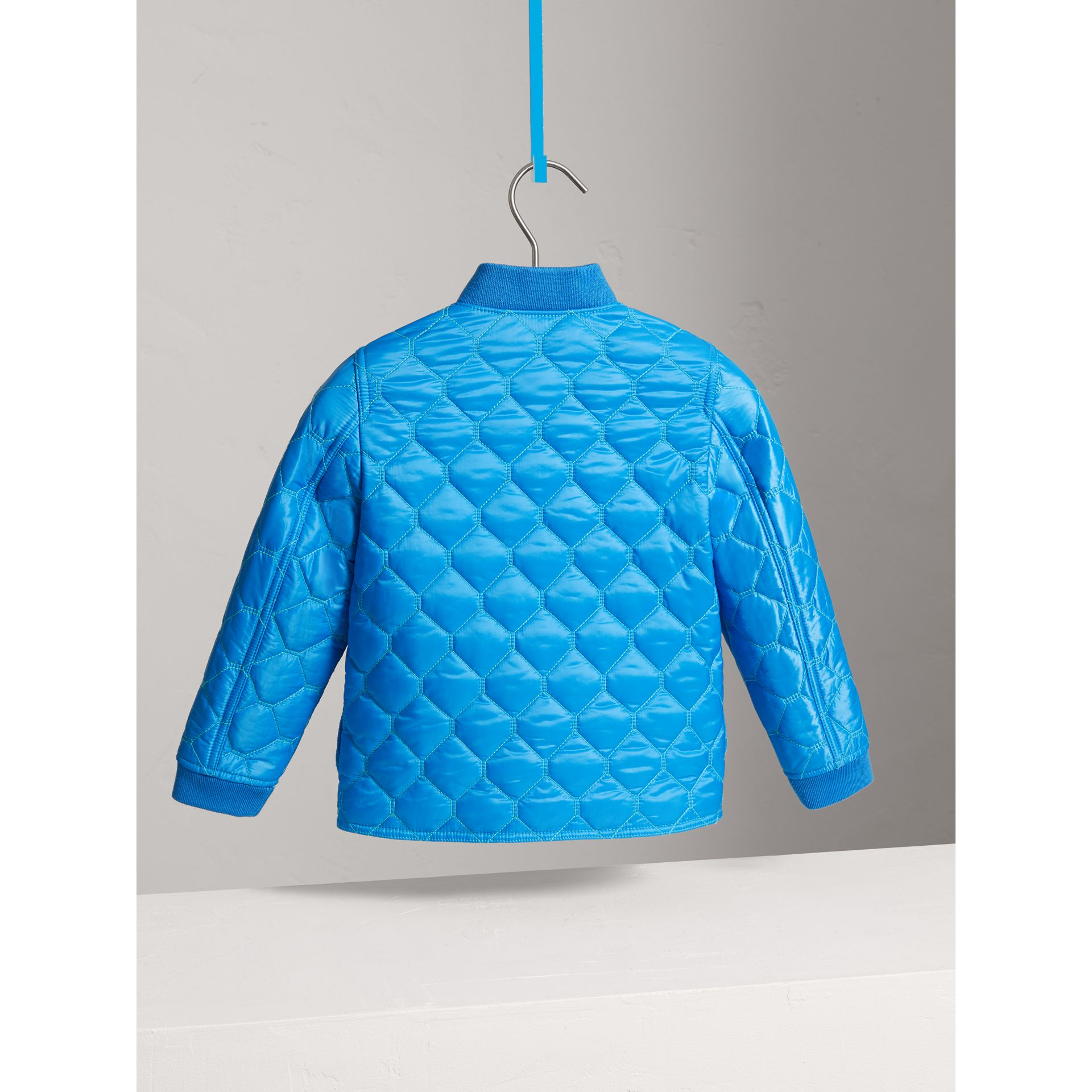 Contrast Topstitch Detail Quilted Jacket in Cyan Blue | Burberry - gallery image 3