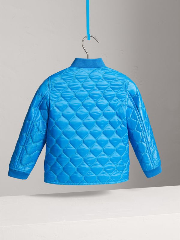 Contrast Topstitch Detail Quilted Jacket in Cyan Blue | Burberry - cell image 3