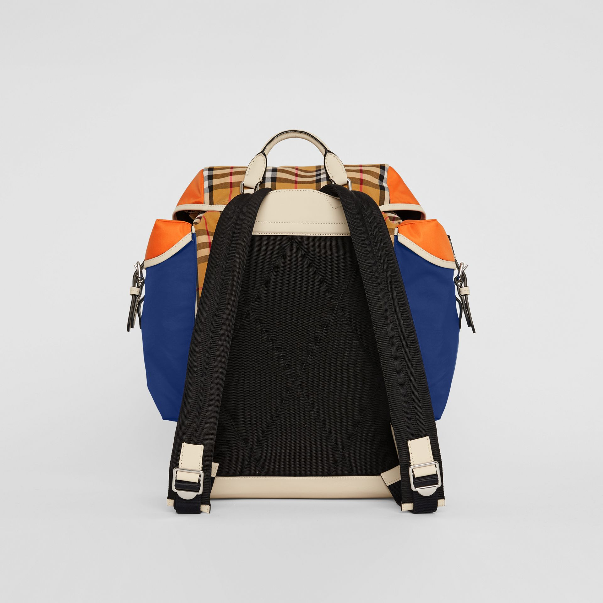 Colour Block Vintage Check and Leather Backpack in Cerulean Blue - Men | Burberry United Kingdom - gallery image 7