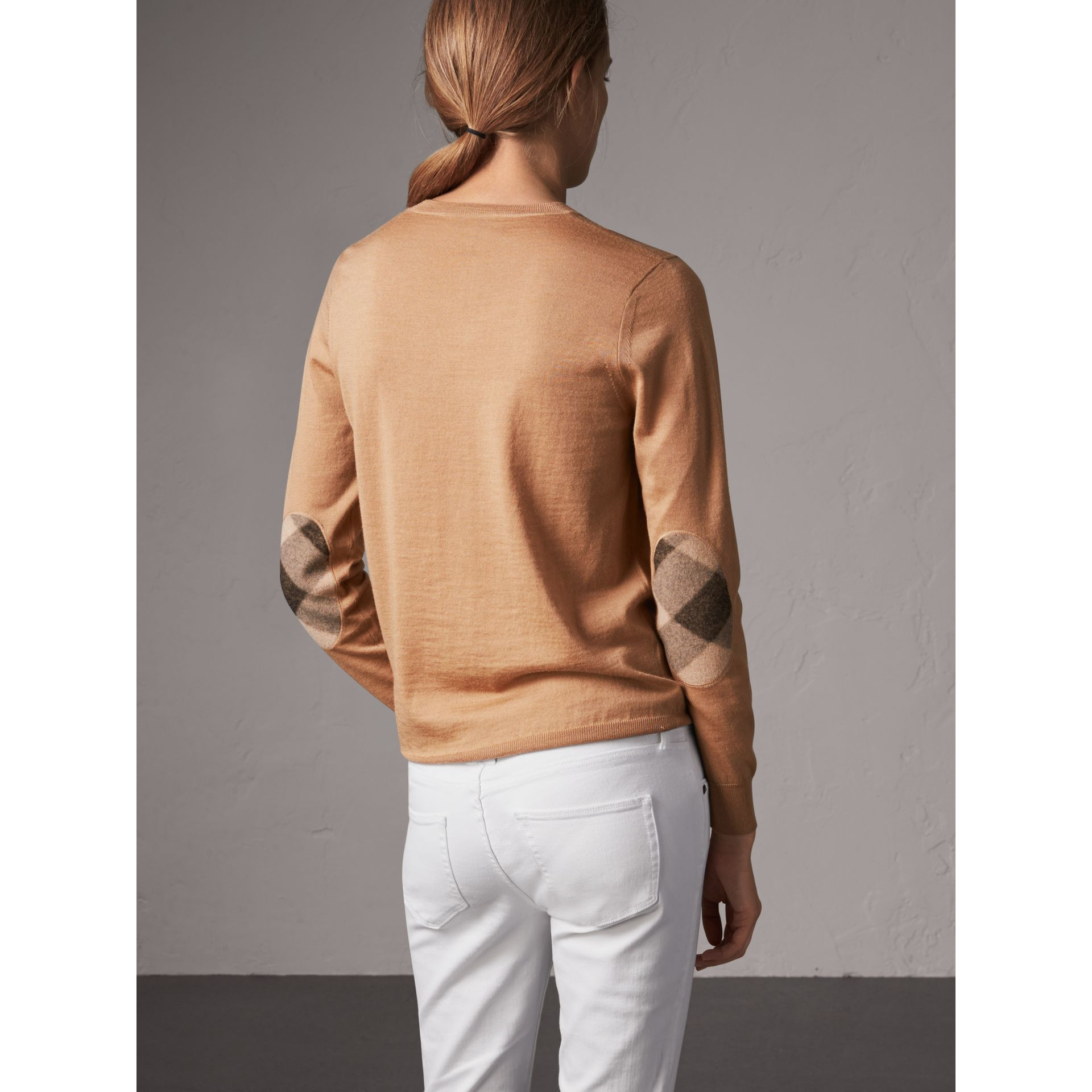 Check Detail Merino Wool Crew Neck Sweater in Camel - Women | Burberry - gallery image 3