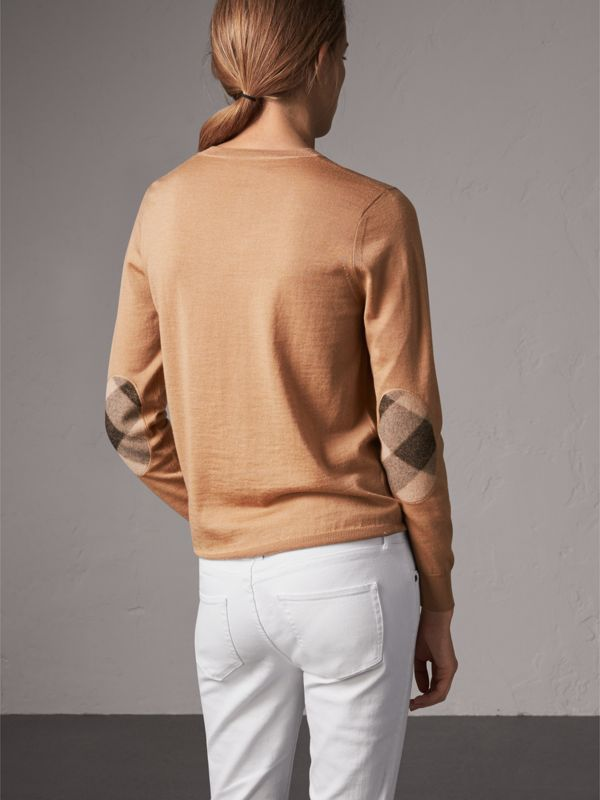 Check Detail Merino Wool Crew Neck Sweater in Camel - Women | Burberry United Kingdom - cell image 2