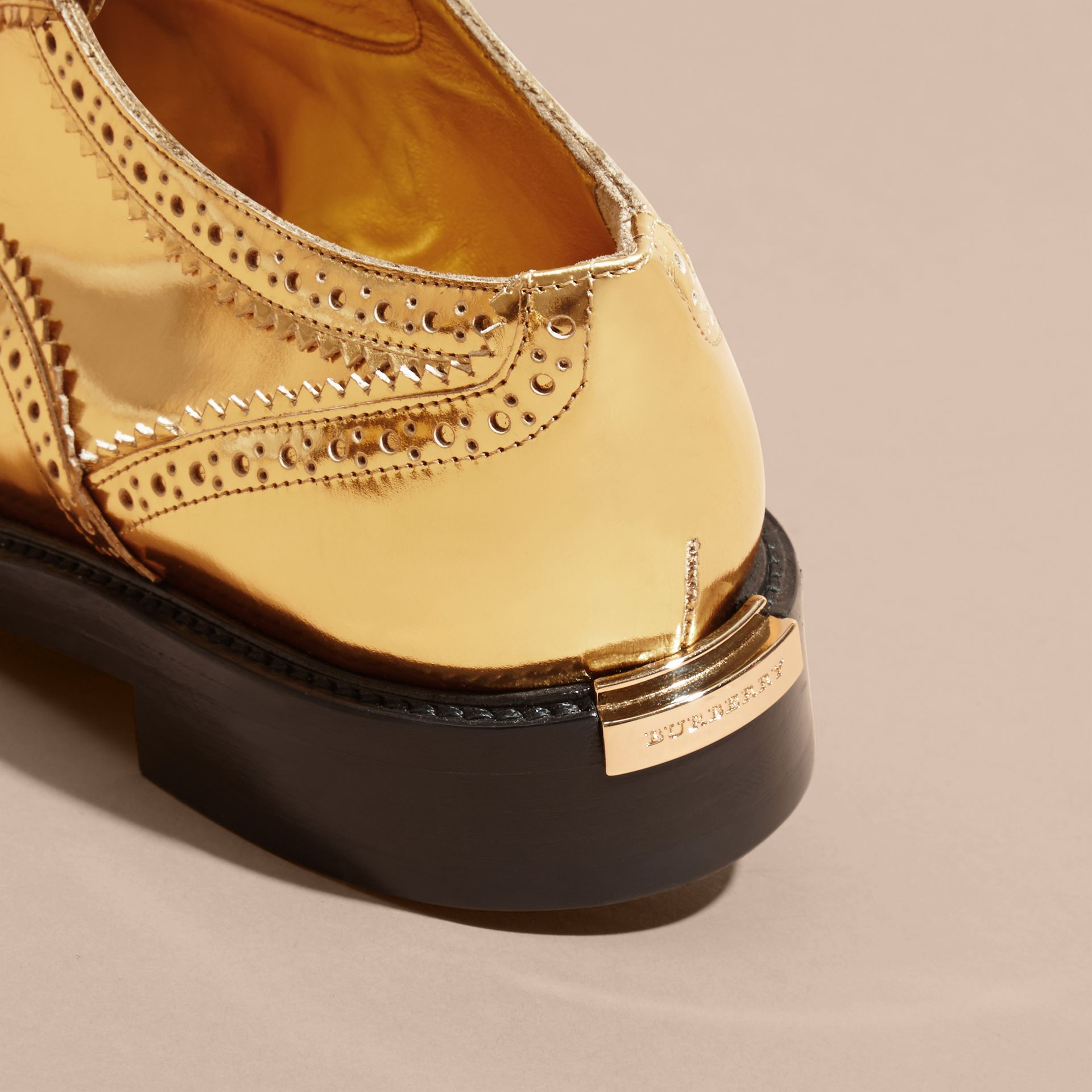 Metallic Leather Wingtip Brogues Antique Gold - gallery image 4