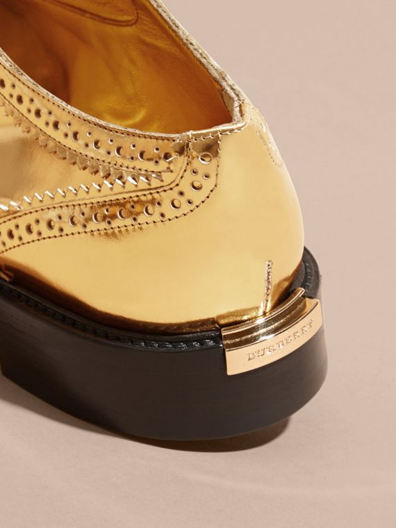 Metallic Leather Wingtip Brogues Antique Gold - cell image 3