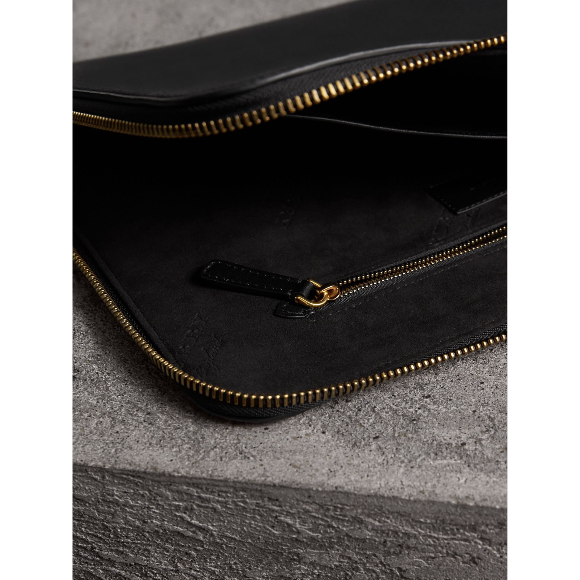 Embossed Leather Document Case in Black - Men | Burberry - gallery image 4