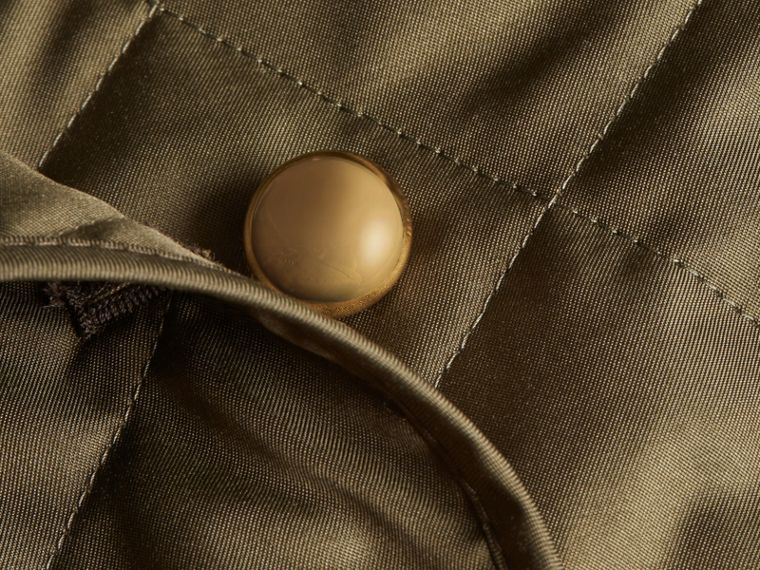 Double-breasted Quilted Military Jacket in Dark Olive - Women | Burberry - cell image 1